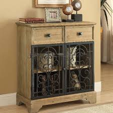 Metal And Wood Cabinet Coaster 950547 Raw Wood Metal Scroll Accent Cabinet