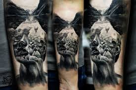 surrealism style colored forearm tattoo of mystical portrait