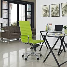 modern minimalist office design with stylish green swivel chair