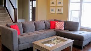 living room living room furniture l shaped gray velvet tufted