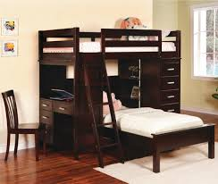 dark stained wood loft bed combo with stairs desk and cabinet system a dark stained wood