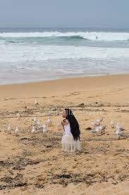 black hair for the beach girl with long black hair feeding gulls on beach photo sheila