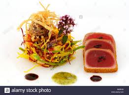 haute cuisine tuna with curry china salad food haute cuisine stock photo