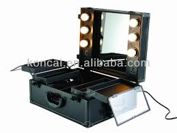 Rolling Makeup Case With Lights Makeup Cart With Mirror Images