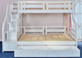Luxury Carved Solid Wood White Triple Bunk Bed With Storage Stairs - Triple bunk bed wooden