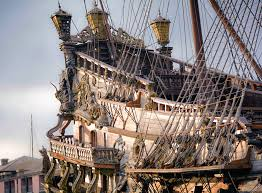 ropes at the stern of a replica 17th century spanish galleon the