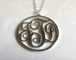 3 Initial Monogram Necklace Sterling Silver Necklace 3 Initial Etsy
