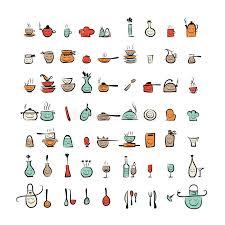dessin ustensile de cuisine caractères d ustensiles de cuisine icônes de dessin de croquis