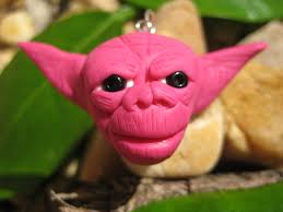 pink yoda polymer clay pendant charm ornament cell phone charm