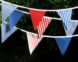 Blue White Red White Blue Flag Bunting Red White Blue Plain Stripe Spots On Red Ribbon 3m