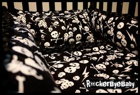 Black And White Crib Bedding For Boys Custom Baby 4 Crib Bedding Set Fabric Skull And