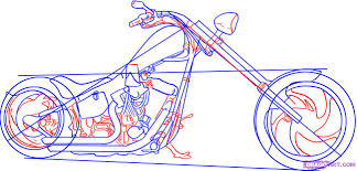 how to draw a chopper motorcycle step 4 drawing pinterest