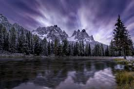 of water beside pine trees and rocky mountain white and