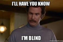 Blind Meme - i ll have you know i m blind ron burgundy i am not even mad or