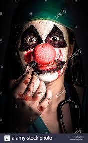 dark and creepy medical portrait of a horror clown expressing