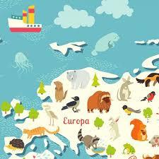 weltkarte für kinderzimmer kinderweltkarte mit tieren als poster preiswert kaufen