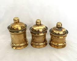 vintage canisters for kitchen brass canister etsy
