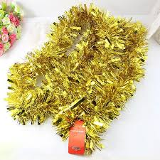 tree tinsel garland decorations golden