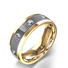 gold male rings images 1 2 ctw beveled edge men 39 s diamond wedding ring in two tone 14k jpg