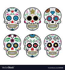 dia de los muertos sugar skulls mexican sugar skull dia de los muertos icons set vector image