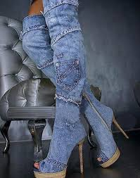 s boots high heel european s boots cuto ut blue denim boots for open toe