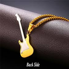 guitar necklace pendants images New enamel electric guitar pendants necklaces black gun gold jpg
