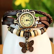 bracelet leather watches images Retro quartz watch with butterfly round dial and knitting leather jpg