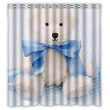 Teddy Shower Curtain Free Shipping Polyester Floral Bath Curtains Print