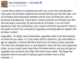this guy thinks emirates services have gotten worse and has called