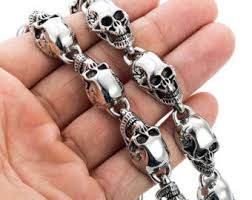 stainless steel necklace clasp images Mens skull necklace etsy jpg