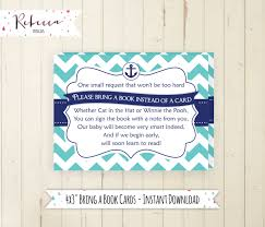 bring a book instead of a card baby shower bring a book card navy baby shower book insert printable