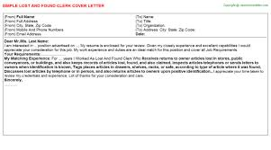 lost and found clerk cover letter