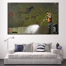 online get cheap wall mural banksy aliexpress com alibaba group 1 pcs banksy art ancient mural wall painting prints on canvas abstract clear street graffiti painter