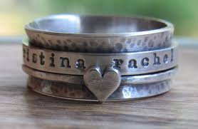 personalized rings rustic ring spinner personalized ring sterling silver jewelry