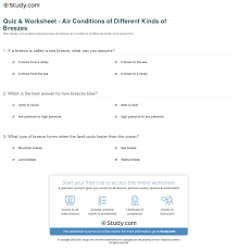 quiz u0026 worksheet air conditions of different kinds of breezes