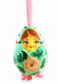 matreshka wooden ornament painted baby blue at