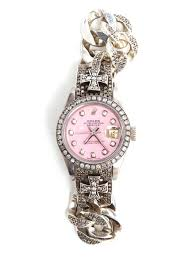 diamond rolex loree rodkin chunky silver and diamond rolex in metallic lyst