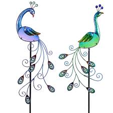 20005 glass metal peacock garden stake assortment exhart