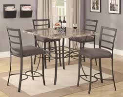 Granite Top Dining Room Table by Chic Stainless Steel Counter Height Bar Stools With Comfy Pad