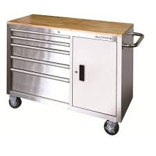 husky 5 drawer side cabinet husky 46 in 5 drawer and 1 door stainless steel mobile workbench