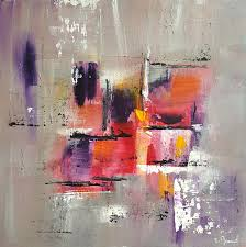 Tableau Abstrait Rouge Et Gris by Peinture Moderne Acrylique Violet Gris Jaune Rouge Orange Blanc
