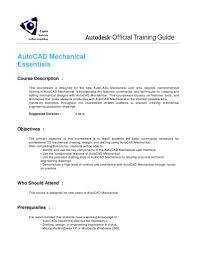autocad mechanical essentials training syllabus auto cad