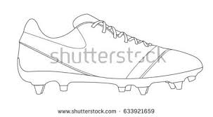 line drawing sketch soccer football shoe stock vector 633921659