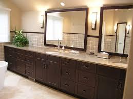 Dark Wood Bathroom Cabinets With Contemporary Sconce Bathroom - Dark wood bathroom cabinets
