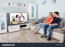 Young Couple Room Young Couple Watching Cooking Show On Stock Photo 555948508