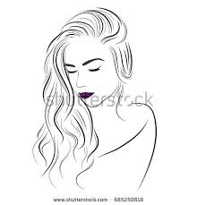 vector sketch beautiful long curly stock vector 516989956
