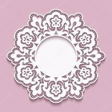 lace doily round cutout paper frame template u2014 stock vector
