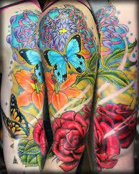 3flowers butterfly half sleeve jpg 736 920 ink