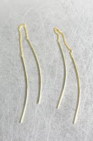 threaded earrings gold curved thread dangle earrings sterling silver kellinsilver