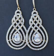 bridal chandelier earrings gold pave swirl bridal chandelier earrings vintage